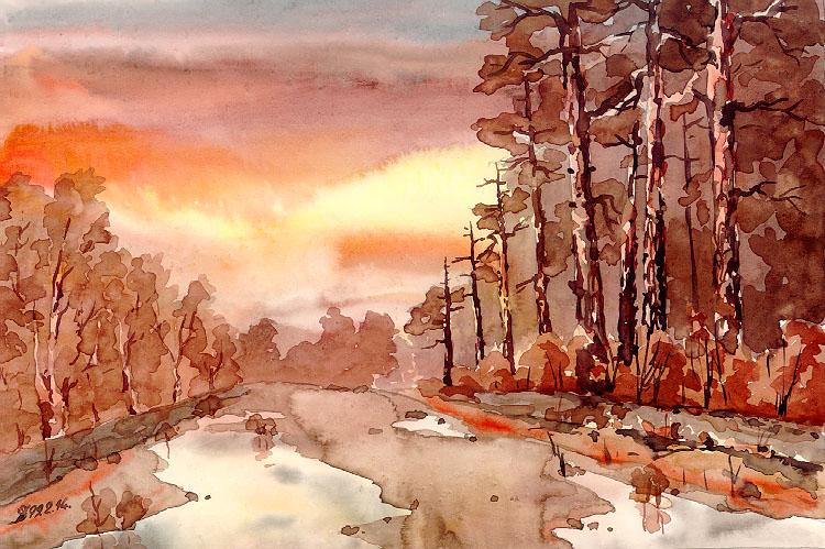 Рисуем красками пейзаж гуашью цветы